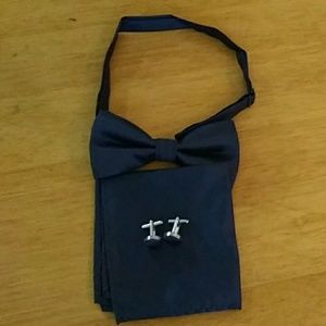 Other - New Navy Blue Bow Tie Cuff Links And Pocket Square